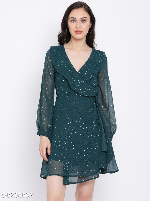 Fashion Clashion Frill Foil Print Women's Dress