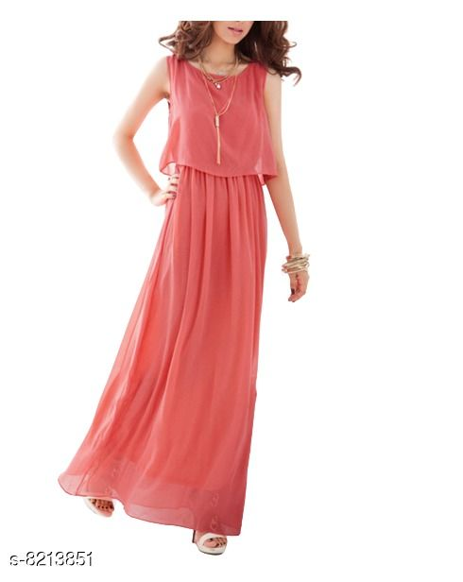 Fabrange Women's Crepe Casual Peach Dress