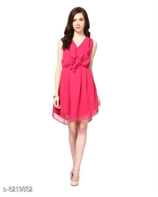 Fabrange Women's Crepe Casual Pink Ruffle Dress