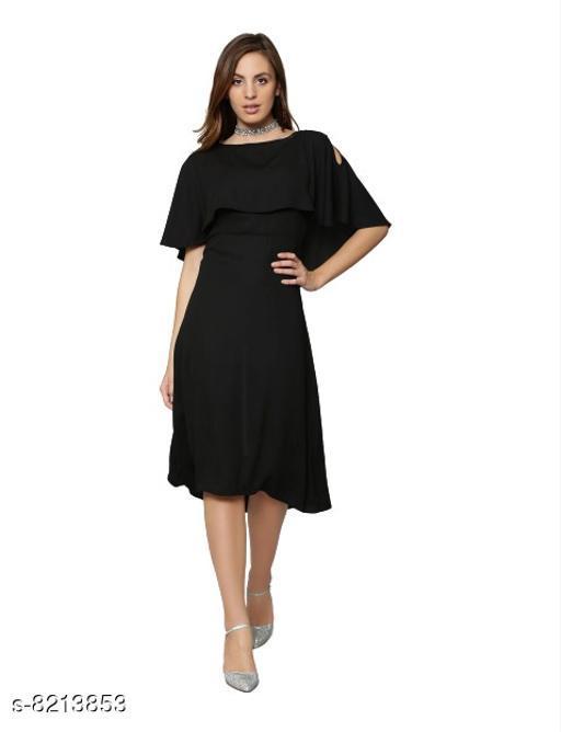 Fabrange Women's Crepe Casual Cape Dress