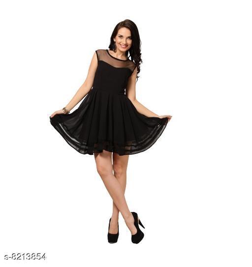 Fabrange Women's Crepe Casual Net Dress