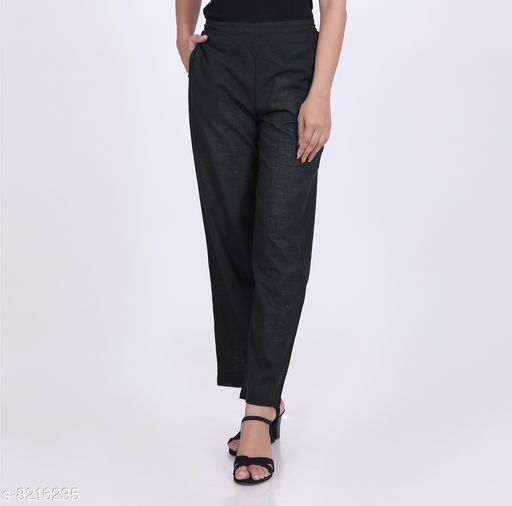 Trousers & Pants KVASTRA Womens Cotton Western Trouser Pants (Black)  *Fabric* Cotton  *Pattern* Solid  *Multipack* 1  *Sizes*   *26 (Waist Size* 26 in, Length Size  *Sizes Available* 26, 28, 30, 32, 34, 36, 38 *    Catalog Name: Stylish Fabulous Women Women Trousers  CatalogID_1369171 C79-SC1034 Code: 863-8216235-9921