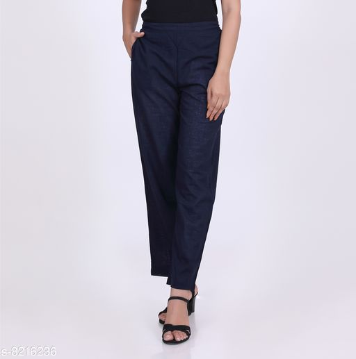 Trousers & Pants KVASTRA Womens Cotton Western Trouser Pants (Blue)  *Fabric* Cotton  *Pattern* Solid  *Multipack* 1  *Sizes*   *26 (Waist Size* 26 in, Length Size  *Sizes Available* 26, 28, 30, 32, 34, 36, 38 *    Catalog Name: Stylish Fabulous Women Women Trousers  CatalogID_1369171 C79-SC1034 Code: 863-8216236-9921