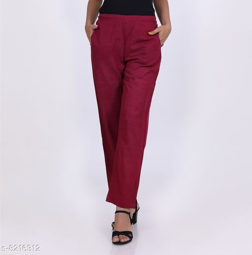 Trousers & Pants KVASTRA Womens Cotton Western Trouser Pants (Maroon)  *Fabric* Cotton  *Pattern* Solid  *Multipack* 1  *Sizes*   *26 (Waist Size* 26 in, Length Size  *Sizes Available* 26, 28, 30, 32, 34, 36, 38 *    Catalog Name: Classic Fabulous Women Women Trousers  CatalogID_1369194 C79-SC1034 Code: 863-8216312-9921