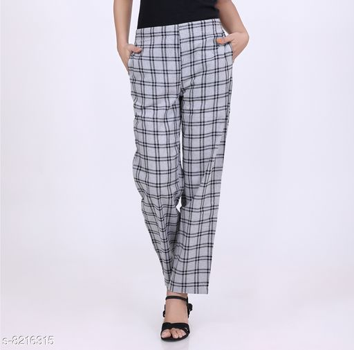 Trousers & Pants KVASTRA Womens Cotton Checkered Western Trouser Pants (Grey)  *Fabric* Cotton  *Pattern* Checked  *Multipack* 1  *Sizes*   *26 (Waist Size* 26 in, Length Size  *Sizes Available* 26 *    Catalog Name: Classic Fabulous Women Women Trousers  CatalogID_1369194 C79-SC1034 Code: 863-8216315-9921