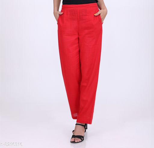 Trousers & Pants KVASTRA Womens Cotton Western Trouser Pants (Red)  *Fabric* Cotton  *Pattern* Solid  *Multipack* 1  *Sizes*   *26 (Waist Size* 26 in, Length Size  *Sizes Available* 26, 28, 30, 32, 34, 36, 38 *    Catalog Name: Classic Fabulous Women Women Trousers  CatalogID_1369194 C79-SC1034 Code: 863-8216316-9921