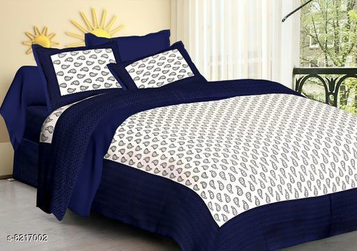 Bedsheets Attractive Double Queen Size Bedsheets  *Fabric* Cotton  *No. Of Pillow Covers* 2  *Pattern * Printed  *Thread Count* 160  *Multipack* Pack Of 1  *Sizes*   *Queen (Length Size* 90 in, Width Size  *Sizes Available* Queen *    Catalog Name:  Attractive Double Queen Size Bedsheets CatalogID_1369329 C53-SC1101 Code: 644-8217002-