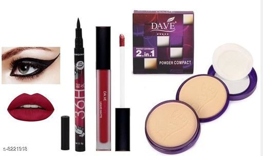 Dave Perfect Coverage 2 IN 1 Compact Powder & Dave Matte Liquid Lipstick With Yanqina 36H Black Pen Eyeliner