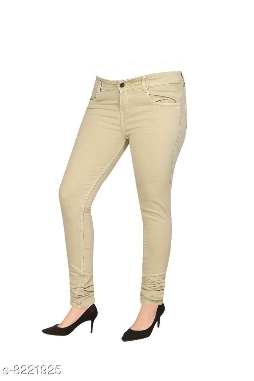 cefalu Strechable Jeans (FAWN ) For Woman