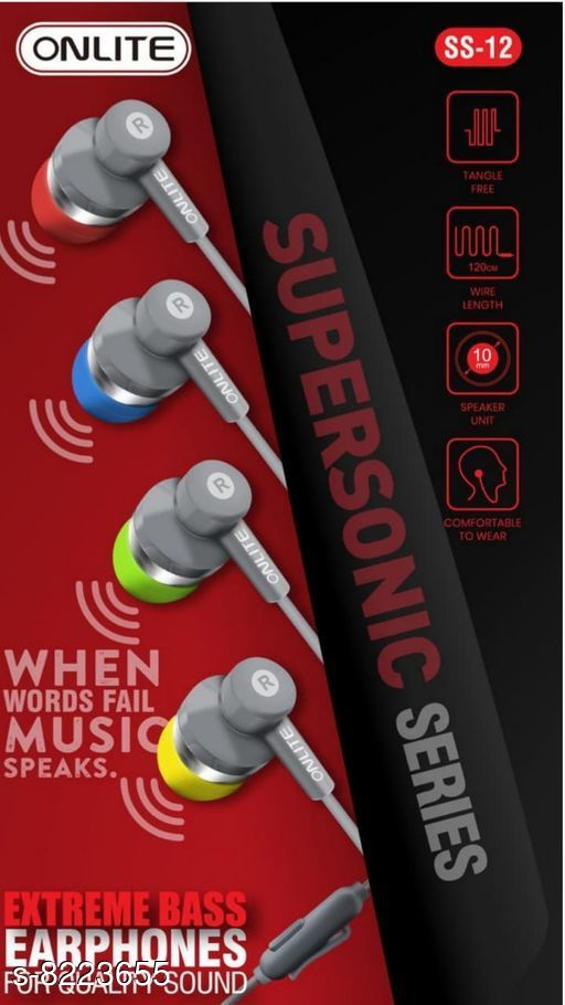 Wired Headphones & Earphones Wired Headphones & Earphones  *Product Name* Wired Headphones & Earphones  *Material* ABS Plastic  *Product Type* Earphone  *Multipack* 1  *Color* Assorted  *Sizes*  Free Size  *Sizes Available* Free Size *   Catalog Rating: ★4.3 (12)  Catalog Name: Wired Headphones & Earphones CatalogID_1370906 C97-SC1375 Code: 091-8223655-