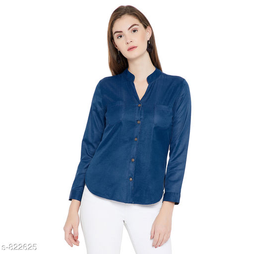Shirts Trendy Women's Top  *Fabric* Denim  *Sleeves* Sleeves Are Included  *Size* S- 36 in,M-38 in,L- 40 in,XL-42 in,2XL-44 in  *Length* Up To 26 in  *Type* Stitched  *Description* It Has 1 Piece Of Women's Shirts  *Work* Solid  *Sizes Available* S, M, L, XL, XXL *   Catalog Rating: ★3.9 (112)  Catalog Name: Alyssa Voguish Tops Vol 10 CatalogID_94793 C79-SC1022 Code: 343-822625-