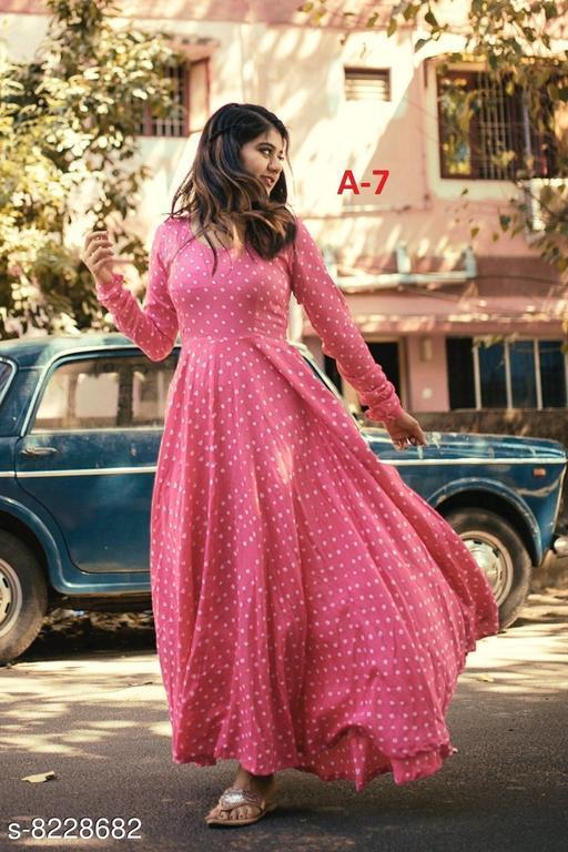 Designer Digital Printed Reyon Gown
