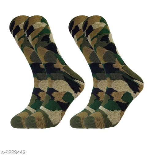 PinKit Men's Organic High Quality Army Patterned Cushioned Terry Woollen Cotton Socks - Pack of 2 Pair Socks