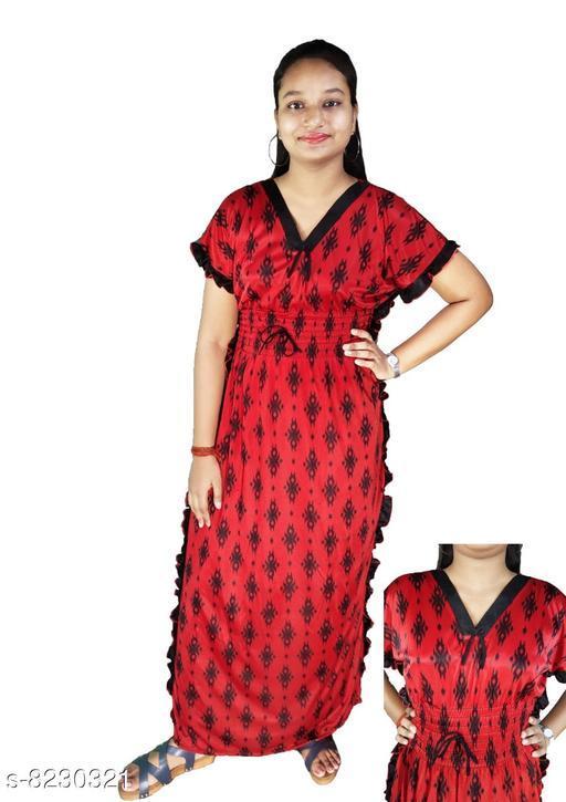 Nightdress LADIES NIGHTY  *Fabric* Satin  *Sizes*  L  *Sizes Available* L *    Catalog Name: Divine Stylish Women Nightdresses CatalogID_1372329 C76-SC1044 Code: 014-8230321-