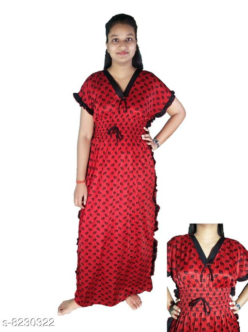 Nightdress LADIES NIGHTY  *Fabric* Satin  *Sizes*  L  *Sizes Available* L *    Catalog Name: Divine Stylish Women Nightdresses CatalogID_1372329 C76-SC1044 Code: 014-8230322-