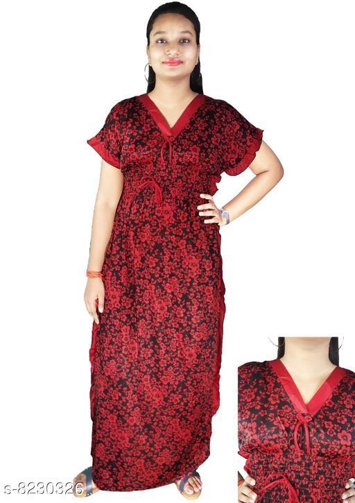 Nightdress LADIES NIGHTY  *Fabric* Satin  *Sizes*  L  *Sizes Available* L *    Catalog Name: Divine Stylish Women Nightdresses CatalogID_1372329 C76-SC1044 Code: 014-8230326-