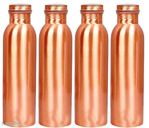 MM Pure Copper Water Bottle With Ayurvedic Health Benefits Control Cholestrol Leak Proof Jointless 1 Liter  Pack of 4