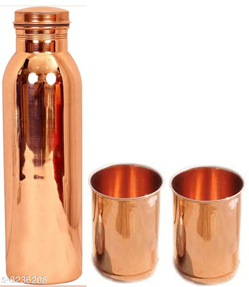 MM Pure Copper 1 Litre Water Bottle With 2 Copper Glass  Drinkware Gift Set ( 1000 ML Bottle, 300 ML Glass )