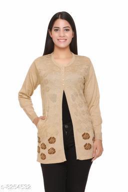 FASHSTORE Womens woollen button full sleeve cardigan
