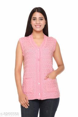 FASHSTORE Womens woollen button sleeveless cardigan