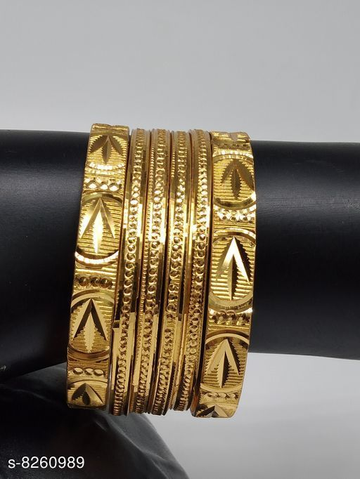 Bangles & Bracelets  Attractive Beautiful Women Bangles  *Base Metal* Brass & Copper  *Plating* Gold Plated  *Sizing* Non-Adjustable  *Type* Bangle Set  *Multipack* 6  *Sizes* 2.2, 2.4, 2.6, 2.10, 2.8  *Sizes Available* 2.4, 2.6, 2.8, 2.10, 2.2 *    Catalog Name:  Attractive Beautiful Women Bangles CatalogID_1379242 C77-SC1094 Code: 791-8260989-