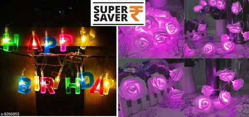 Diwali Lightings OVI Happy Birthday lights - 13 LED Letter Shaped Battery Operated String Lights Birthday Party Decor Supplies for Indoor, Home, House, Christmas Decorative Lighting, Birthday Decorations  PLUS 33 Led Rose Flower Waterproof Fairy String Light 16ft 33 LEDs Battery Operated Night Diwali Light for Decoration purple  *Product Name* OVI Happy Birthday lights - 13 LED Letter Shaped Battery Operated String Lights Birthday Party Decor Supplies for Indoor, Home, House, Christmas Decorative Lighting, Birthday Decorations  PLUS 33 Led Rose Flower Waterproof Fairy String Light 16ft 33 LEDs Battery Operated Night Diwali Light for Decoration purple  *Sizes*   *Sizes Available* Free Size *   Catalog Rating: ★3.7 (9)  Catalog Name:  Diwali Lightings CatalogID_1380575 C98-SC1377 Code: 135-8266953-