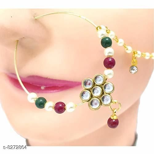 Red Gold Plated Flower Design Kundan Studded Single Layer Nath with Hanging Bead for Women