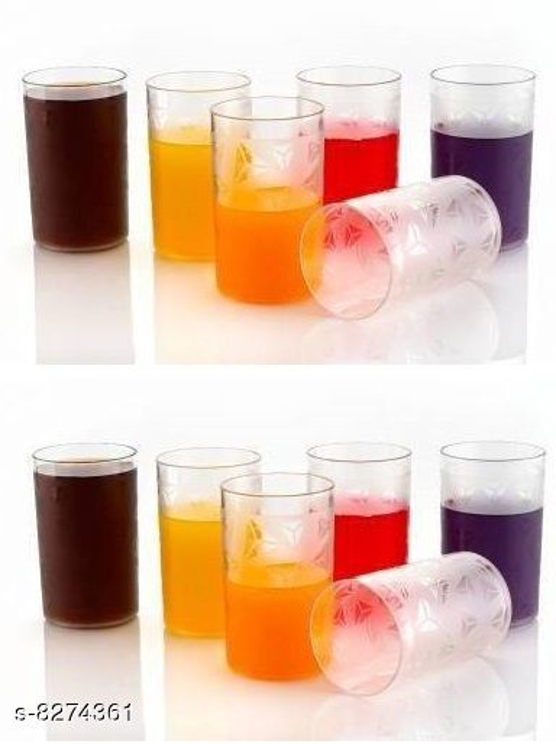 Niebla (Pack of 12) Diamond Design For Water and Juice Glass Plastic Galss(250 ml, Plastic)