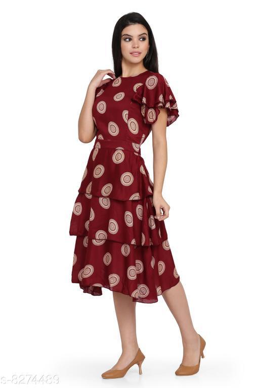 Jaconet Apparel Women's Printed Skirt Frill Dress