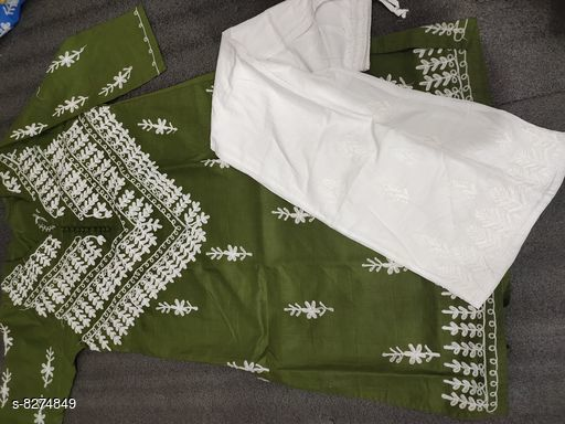 Women Cotton A-line Embroidered Long Kurti With Palazzos