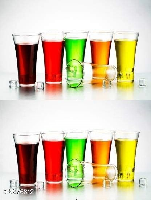Niebla (Pack of 12)Premium Quality Poly Carbonate Stylish Transparent Glass Glass Set  (250 ml, Plastic)