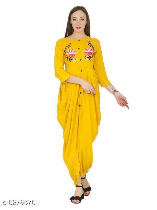 Women Rayon Solid Yellow Kurti