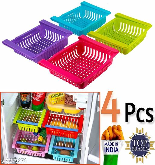 Frekich New Multipurpose Adjustable Fridge Storage / Organiser Basket MultiColor (Pack of 4 )