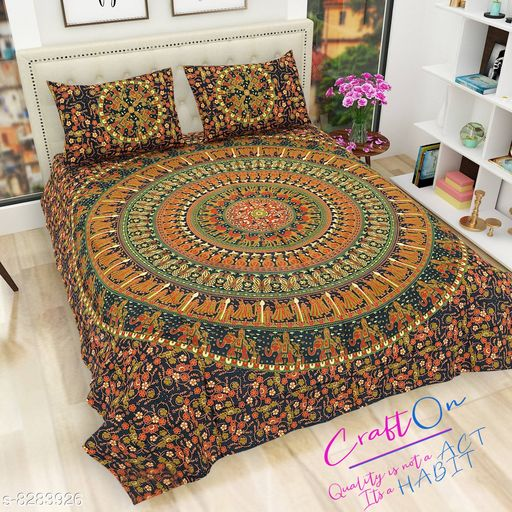Mandla Print Premium Double size bedsheet 100% cotton size Trendy design (With 2 pillow cover) 180TC