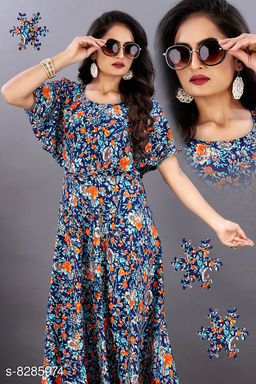 Trendy Crepe Floral Printed Gowns
