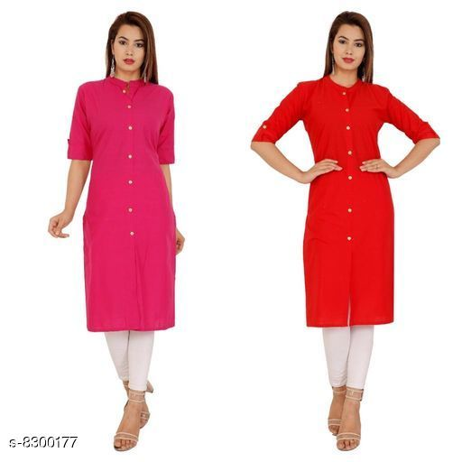 Kurtis & Kurtas Women's Solid Cotton Kurti Fabric: Cotton Sleeve: Half Sleeves Pattern: Solid Combo of: Combo of 2 Sizes: M (Kurti Bust Size: 38 in, Kurti Length Size: 42 in)  L (Kurti Bust Size: 40 in, Kurti Length Size: 42 in)  XL (Kurti Bust Size: 42 in, Kurti Length Size: 42 in)  XXL (Kurti Bust Size: 44 in, Kurti Length Size: 42 in) Sizes Available: M, L, XL, XXL *Proof of Safe Delivery! Click to know on Safety Standards of Delivery Partners- https://ltl.sh/y_nZrAV3  Catalog Rating: ★4.2 (38)  Catalog Name: Alisha Petite Kurtis CatalogID_1388372 C74-SC1001 Code: 744-8300177-