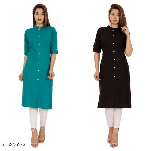 Kurtis & Kurtas Women's Black Solid Cotton Kurti Fabric: Cotton Sleeve: Half Sleeves Pattern: Solid Combo of: Combo of 2 Sizes: M (Kurti Bust Size: 38 in, Kurti Length Size: 42 in)  L (Kurti Bust Size: 40 in, Kurti Length Size: 42 in)  XL (Kurti Bust Size: 42 in, Kurti Length Size: 42 in)  XXL (Kurti Bust Size: 44 in, Kurti Length Size: 42 in) Sizes Available: M, L, XL, XXL *Proof of Safe Delivery! Click to know on Safety Standards of Delivery Partners- https://ltl.sh/y_nZrAV3  Catalog Rating: ★4.2 (38)  Catalog Name: Alisha Petite Kurtis CatalogID_1388372 C74-SC1001 Code: 744-8300179-