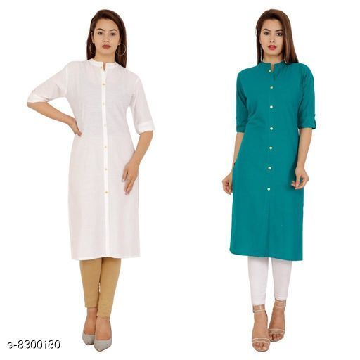 Kurtis & Kurtas Women's Solid Cotton Kurti Fabric: Cotton Sleeve: Half Sleeves Pattern: Solid Combo of: Combo of 2 Sizes: M (Kurti Bust Size: 38 in, Kurti Length Size: 42 in)  L (Kurti Bust Size: 40 in, Kurti Length Size: 42 in)  XL (Kurti Bust Size: 42 in, Kurti Length Size: 42 in)  XXL (Kurti Bust Size: 44 in, Kurti Length Size: 42 in) Sizes Available: M, L, XL, XXL *Proof of Safe Delivery! Click to know on Safety Standards of Delivery Partners- https://ltl.sh/y_nZrAV3  Catalog Rating: ★4.2 (38)  Catalog Name: Alisha Petite Kurtis CatalogID_1388372 C74-SC1001 Code: 744-8300180-