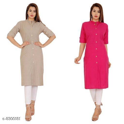 Kurtis & Kurtas Women's Solid Cotton Kurti Fabric: Cotton Sleeve: Half Sleeves Pattern: Solid Combo of: Combo of 2 Sizes: M (Kurti Bust Size: 38 in, Kurti Length Size: 42 in)  L (Kurti Bust Size: 40 in, Kurti Length Size: 42 in)  XL (Kurti Bust Size: 42 in, Kurti Length Size: 42 in)  XXL (Kurti Bust Size: 44 in, Kurti Length Size: 42 in) Sizes Available: M, L, XL, XXL *Proof of Safe Delivery! Click to know on Safety Standards of Delivery Partners- https://ltl.sh/y_nZrAV3  Catalog Rating: ★4.2 (38)  Catalog Name: Alisha Petite Kurtis CatalogID_1388372 C74-SC1001 Code: 744-8300181-