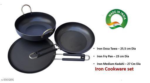 Pack of Iron Dosa Tawa , Fry Pan, iron kadahi 27cm Dia