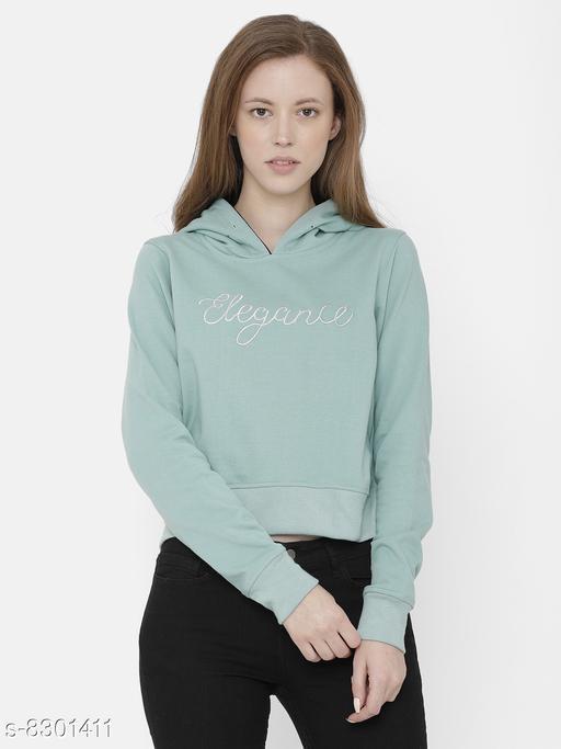 Elegance Women's Green Embroidered  Hoodi Sweatshirt