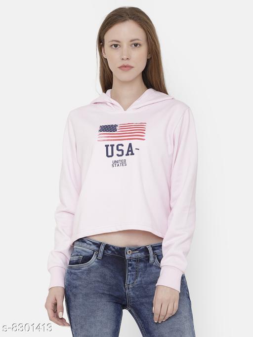Elegance Women's Pink Printed Hoodi Sweatshirt