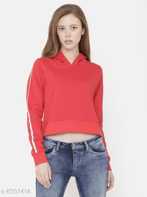 Elegance Women's Red Solid Hoodi Sweatshirt