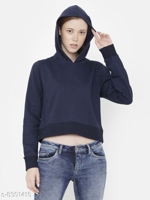 Elegance Women's Navy Solid Hoodi Sweatshirt