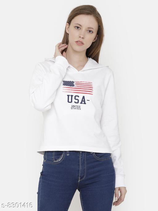Elegance Women's White Printed Hoodi Sweatshirt