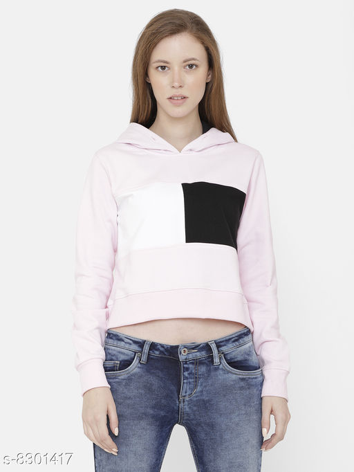 Elegance Women's Pink Colourblock Hoodi Sweatshirt