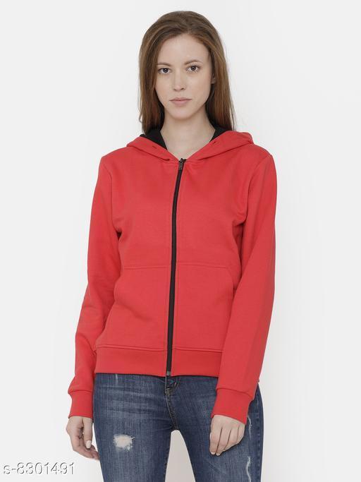 Elegance Women's Red Zipper Hoodi Sweatshirt
