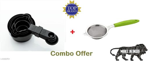 4 Pcs Two Side Measuring Cup and Spoon Set With Tea and Coffee Strainer Filter with Stainless Steel Mesh