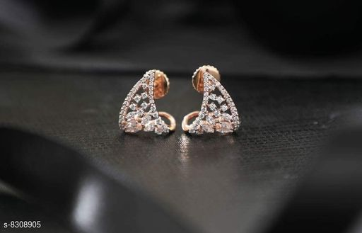 Rose Gold Plated American Diamond Earrings For Women And Girls