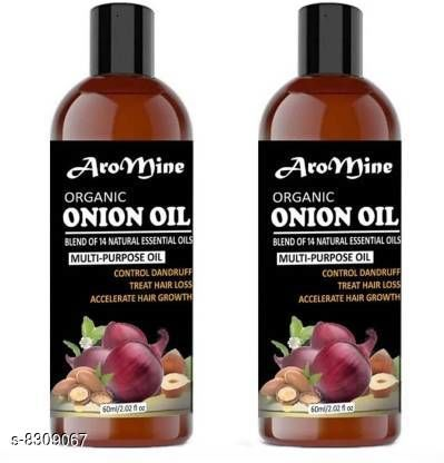 Herbal Products Aromine Premium Herbal ONION Hair Oil - Blend of 14 Natural Oils for Hair Regrowth, Treat hair loss, Dandruff Control & Thickens hair Onion Hair Growth Oil - Nourishing Hair Fall Treatment with 100% Real Onion Extract, Argan Oil, Jojoba Oil, Bhringraj, Shea Butter, Mango Butter and More - Intensive Hair Fall Dandruff Treatment Hair Oil (120 ml)Pack OF-2 BOTTLE(120ML) Hair Oil (120 ml)  *Product Name* Aromine Premium Herbal ONION Hair Oil - Blend of 14 Natural Oils for Hair Regrowth, Treat hair loss, Dandruff Control & Thickens hair Onion Hair Growth Oil - Nourishing Hair Fall Treatment with 100% Real Onion Extract, Argan Oil, Jojoba Oil, Bhringraj, Shea Butter, Mango Butter and More - Intensive Hair Fall Dandruff Treatment Hair Oil (120 ml)Pack OF-2 BOTTLE(120ML) Hair Oil (120 ml)  *Multipack* 2  *Sizes Available* Free Size *    Catalog Name:  Premium Ultra Herbal Oil CatalogID_1390579 C50-SC1297 Code: 675-8309067-